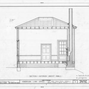 West wall longitudinal section, Archibald Henderson Law Office, Salisbury, North Carolina