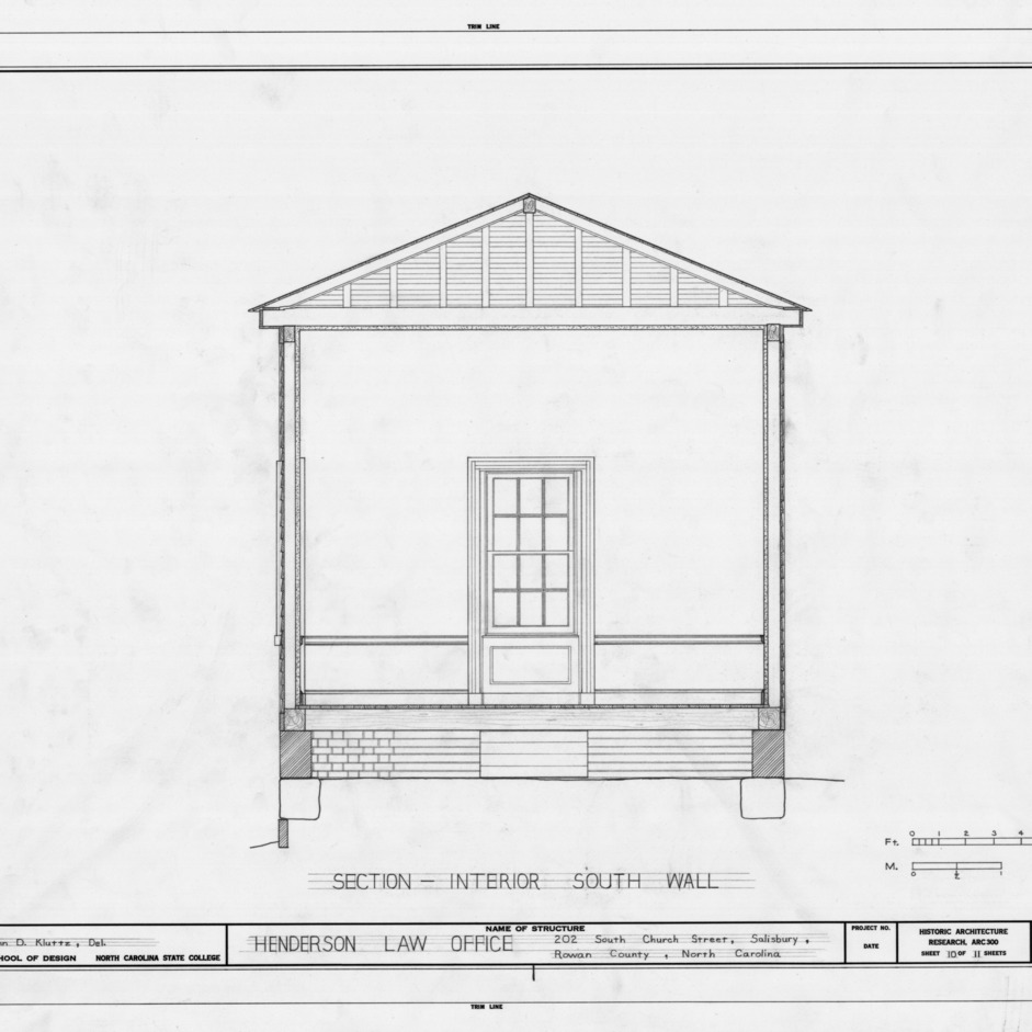 South wall cross section, Archibald Henderson Law Office, Salisbury, North Carolina