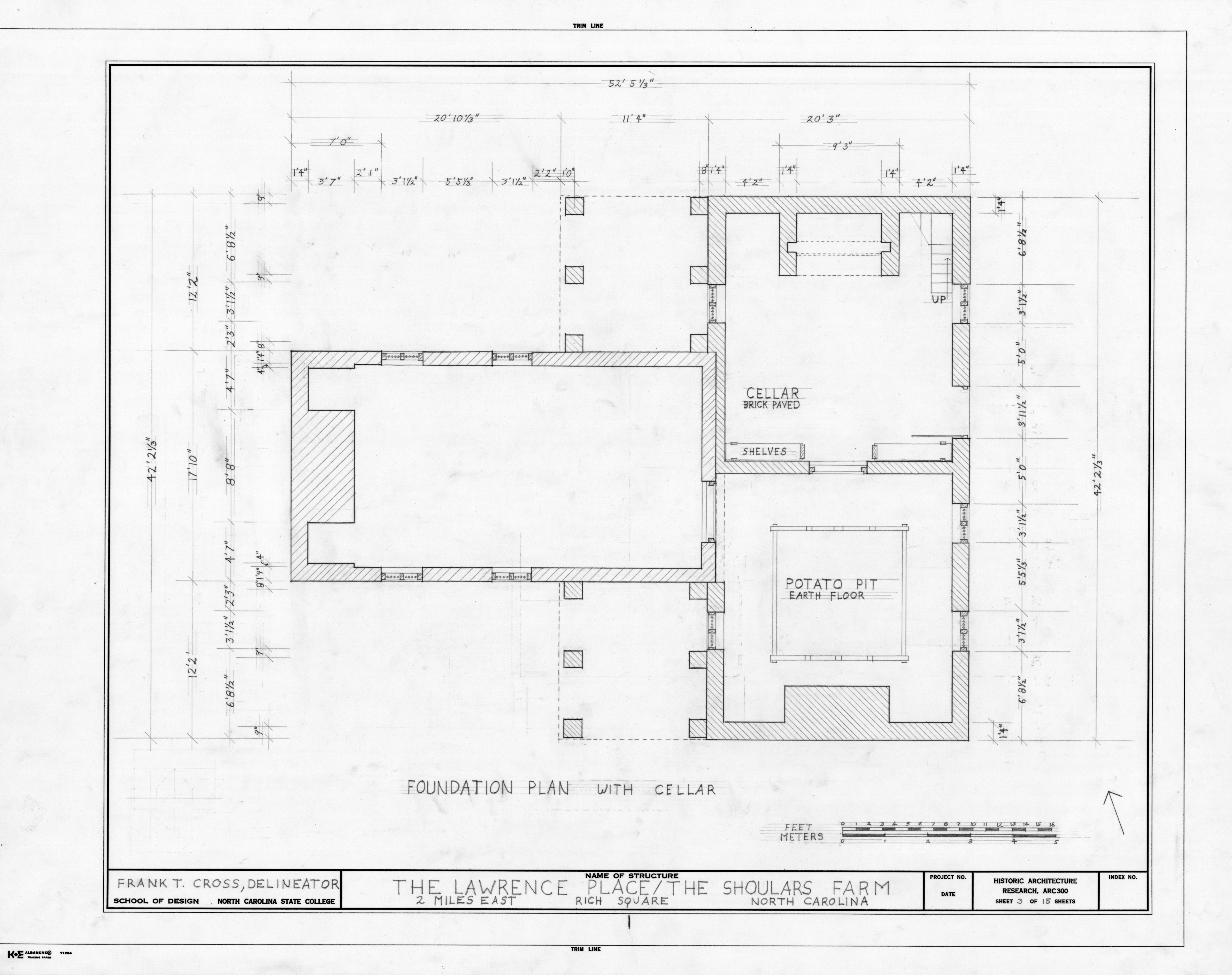 Foundation Plan Duke Lawrence House Northampton County