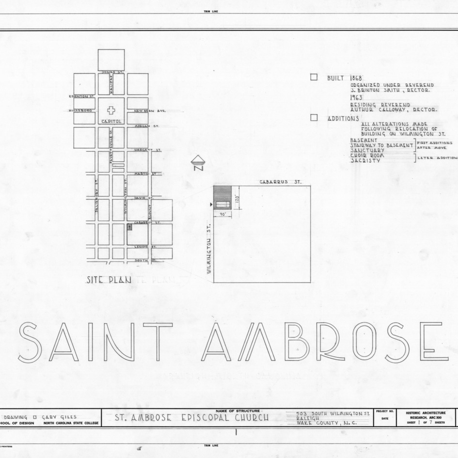 Title page with site plan and notes, St. Ambrose Episcopal Church, Raleigh, North Carolina