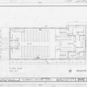 Floor plan, St. Ambrose Episcopal Church, Raleigh, North Carolina