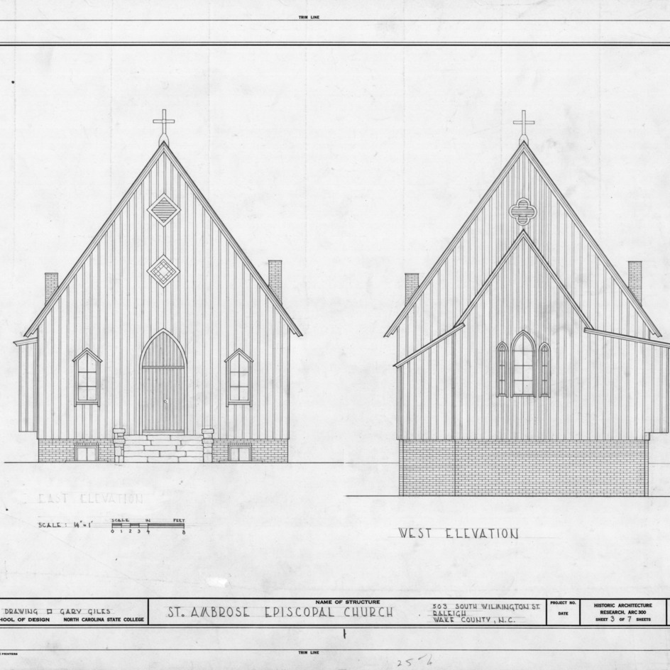 Elevations, St. Ambrose Episcopal Church, Raleigh, North Carolina
