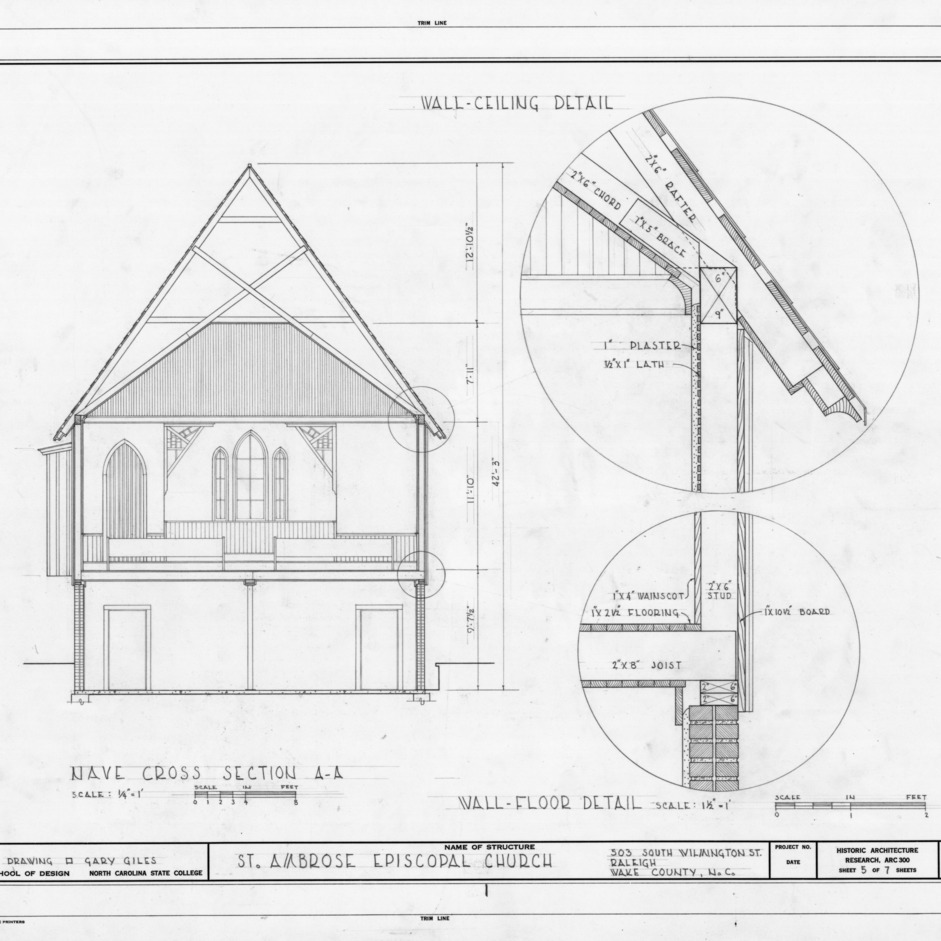 Cross section and structural details, St. Ambrose Episcopal Church, Raleigh, North Carolina