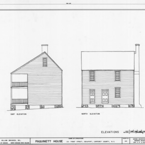 East and north elevations, Paquinett House, Beaufort, North Carolina