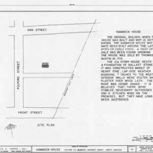 Site plan and notes, Hammock House, Beaufort, North Carolina