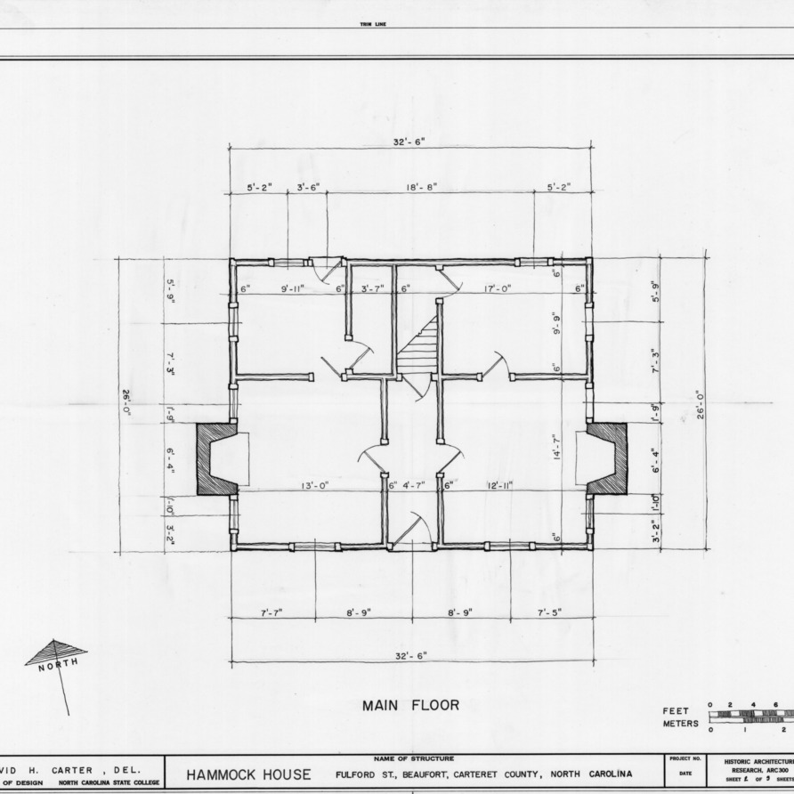 First floor plan, Hammock House, Beaufort, North Carolina