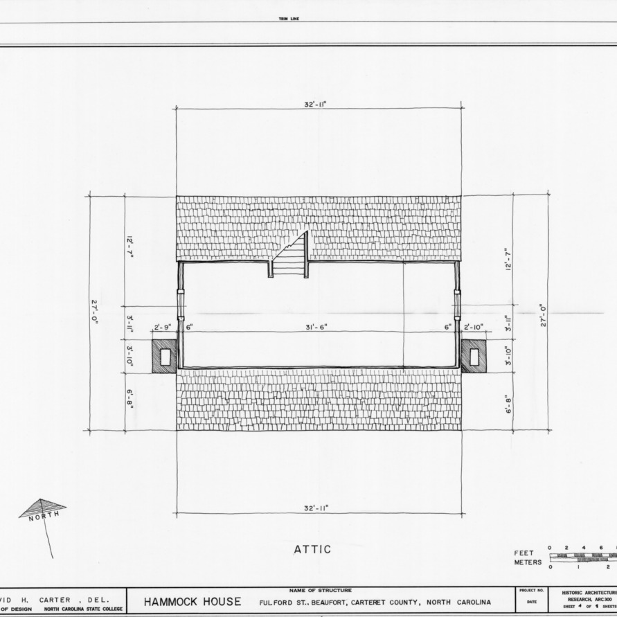 Attic plan, Hammock House, Beaufort, North Carolina