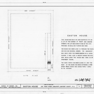 Title page with site plan and notes, Jacob Henry House, Beaufort, North Carolina