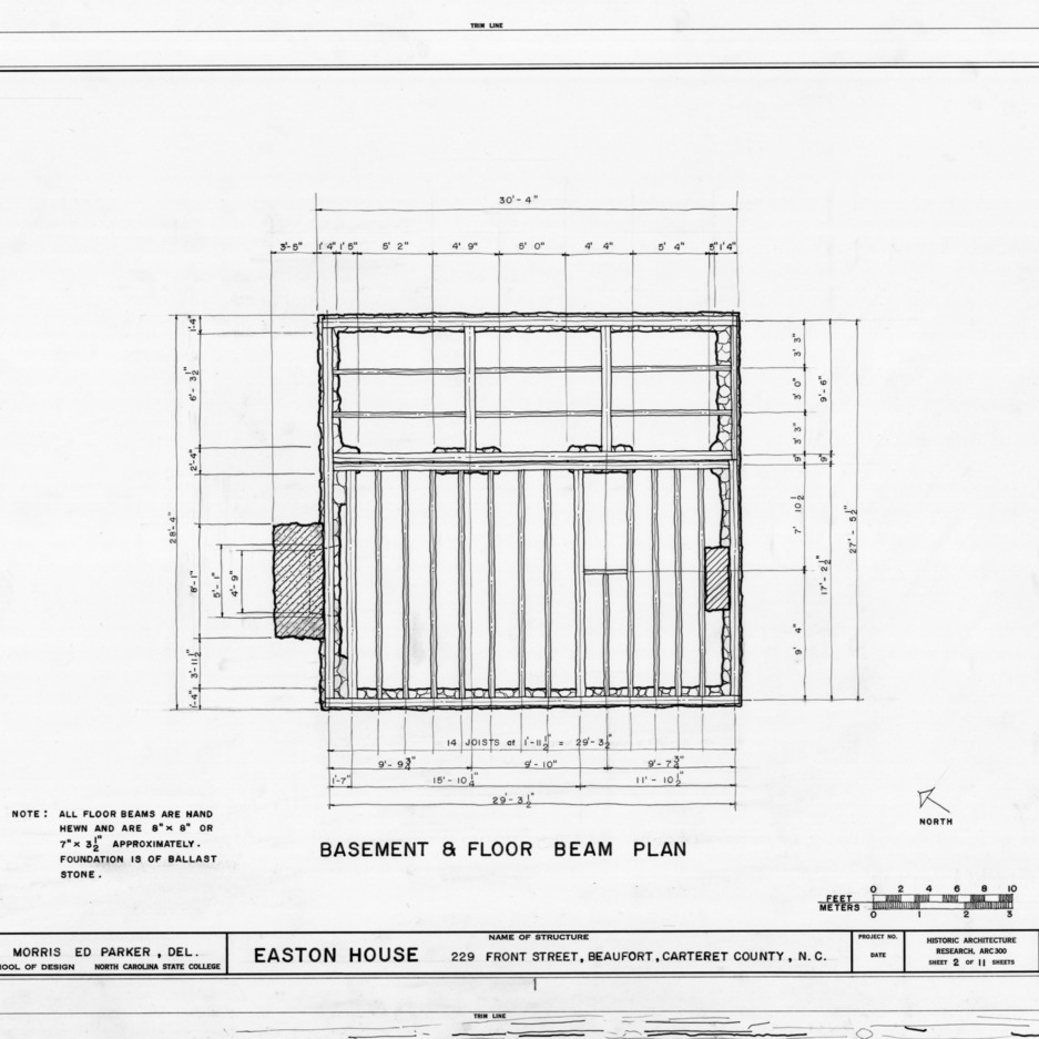 Basement framing plan, Jacob Henry House, Beaufort, North Carolina