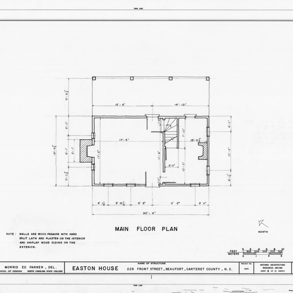 First floor plan, Jacob Henry House, Beaufort, North Carolina