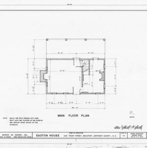 First floor plan, Jacob Henry House, Beaufort, North Carolina