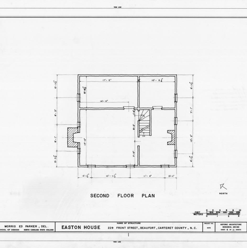 Second floor plan, Jacob Henry House, Beaufort, North Carolina