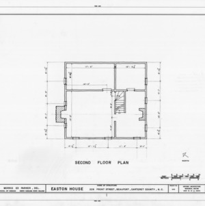 Second floor plan, Jacob Henry House, Beaufort, North Carolina