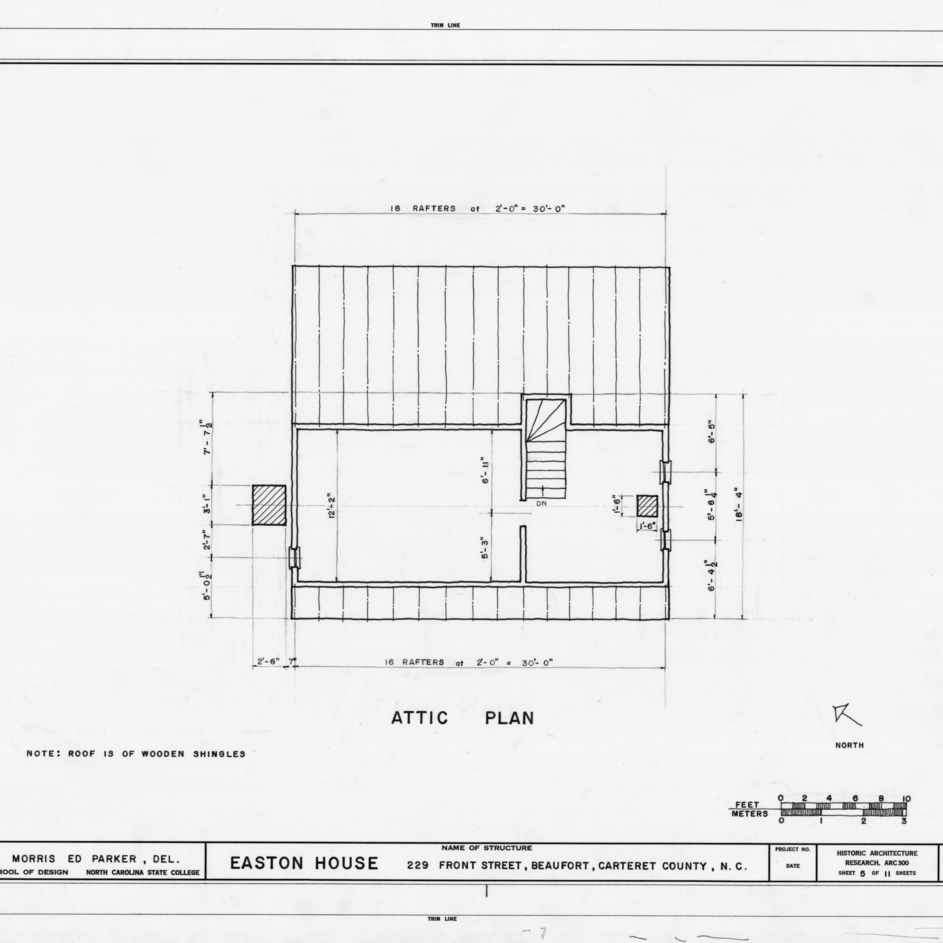 Attic plan, Jacob Henry House, Beaufort, North Carolina