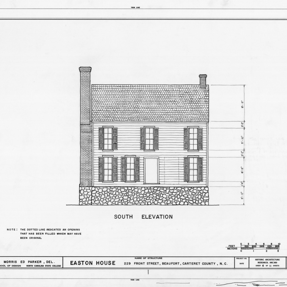 South elevation, Jacob Henry House, Beaufort, North Carolina