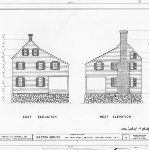 East and west elevations, Jacob Henry House, Beaufort, North Carolina