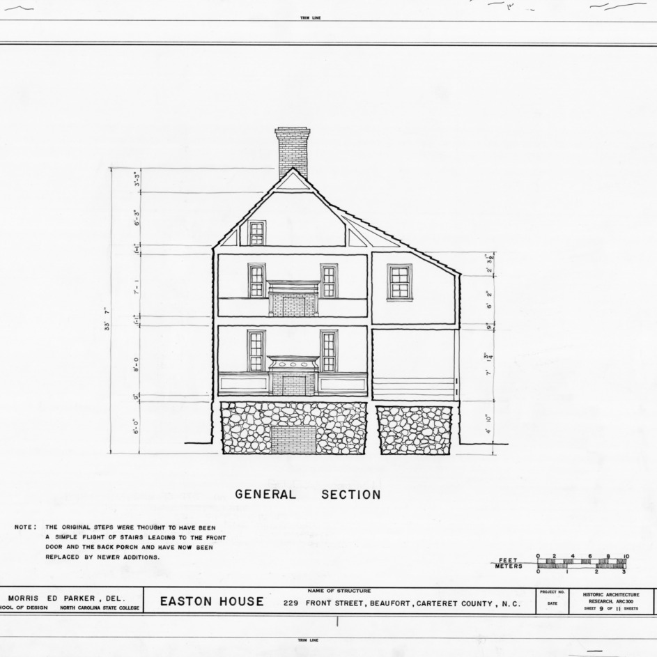 Cross section, Jacob Henry House, Beaufort, North Carolina