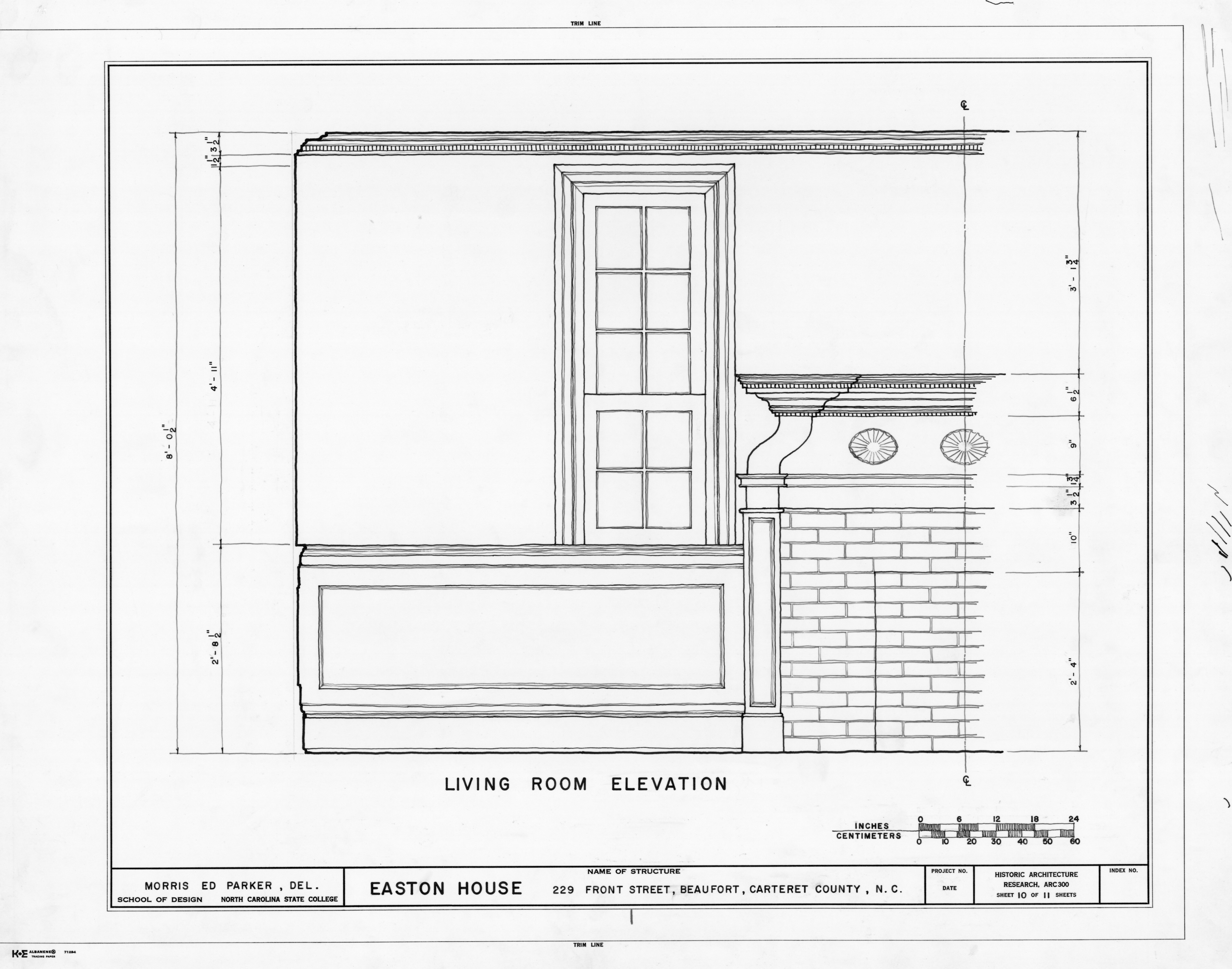 Partial living room elevation jacob henry house beaufort for Living room elevation