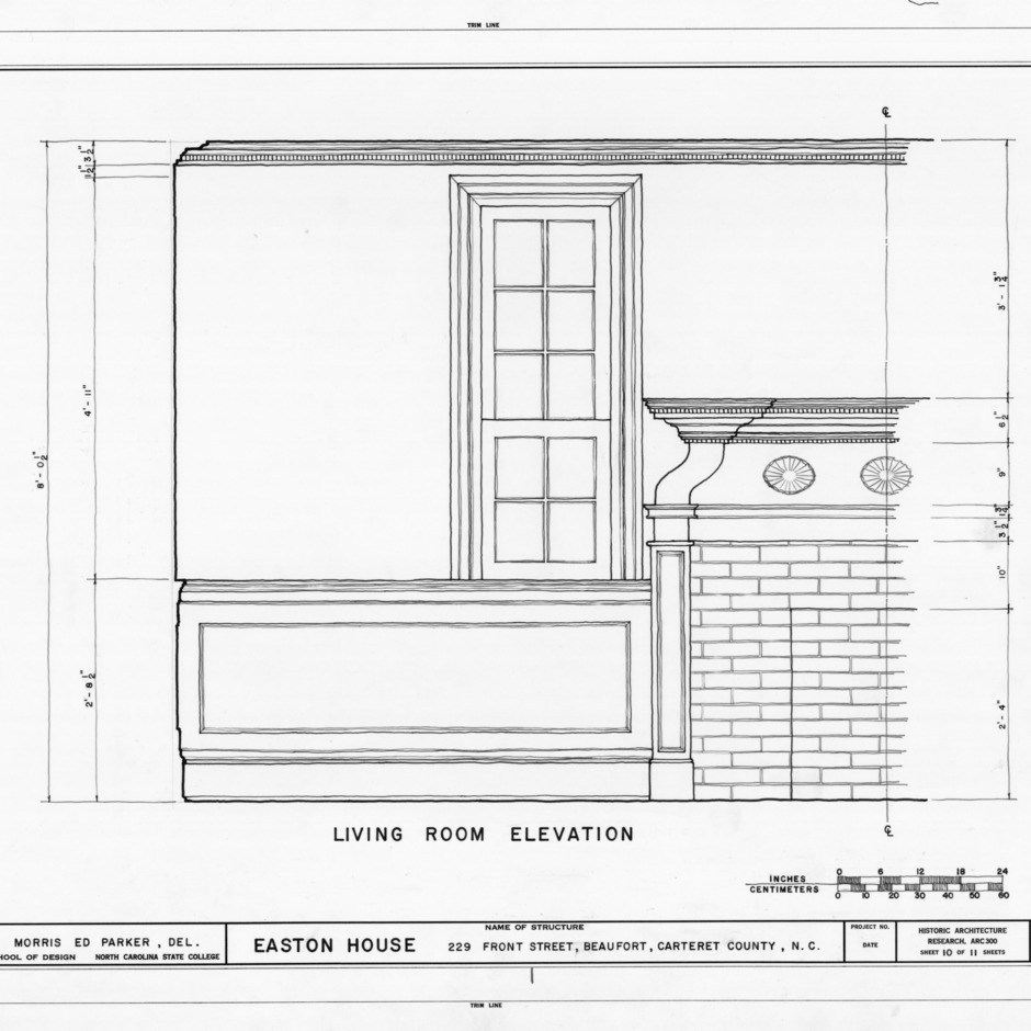 Partial living room elevation, Jacob Henry House, Beaufort, North Carolina