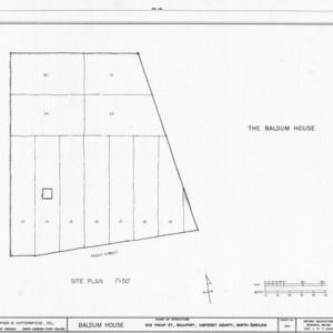 Site plan, Balsum House, Beaufort, North Carolina