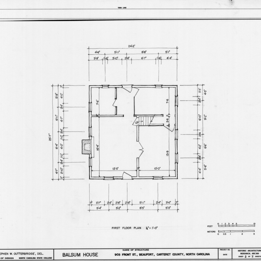 First floor plan, Balsum House, Beaufort, North Carolina