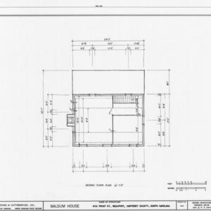 Second floor plan, Balsum House, Beaufort, North Carolina