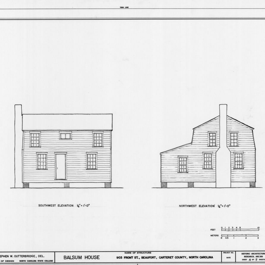 Southwest and northwest elevations, Balsum House, Beaufort, North Carolina