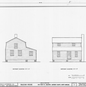 Southeast and northeast elevations, Balsum House, Beaufort, North Carolina