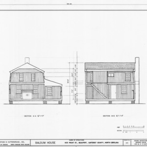 Cross and longitudinal sections, Balsum House, Beaufort, North Carolina