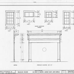 Window and fireplace details, Balsum House, Beaufort, North Carolina