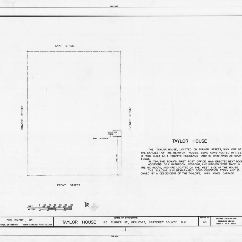 Title page with site plan and notes, John C. Manson House, Beaufort, North Carolina
