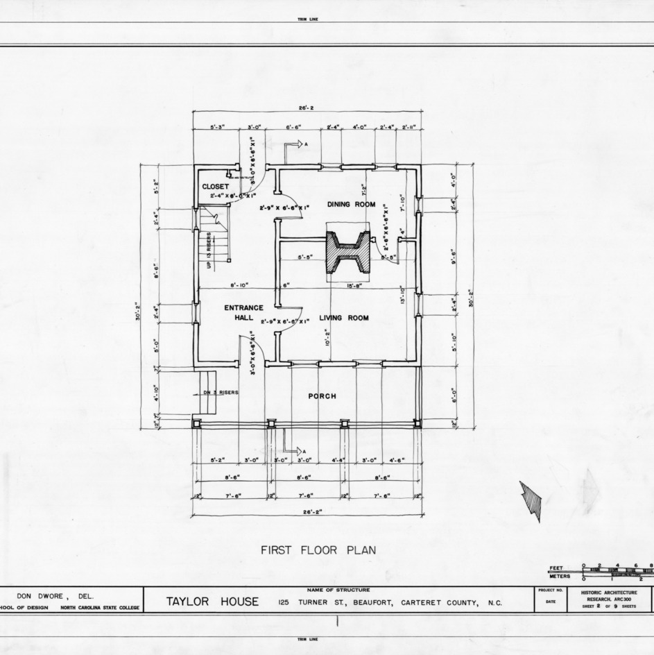 First floor plan, John C. Manson House, Beaufort, North Carolina