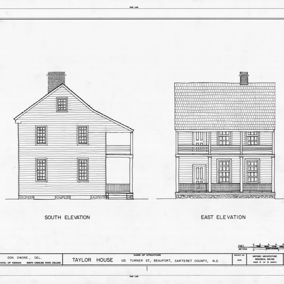 South and east elevations, John C. Manson House, Beaufort, North Carolina