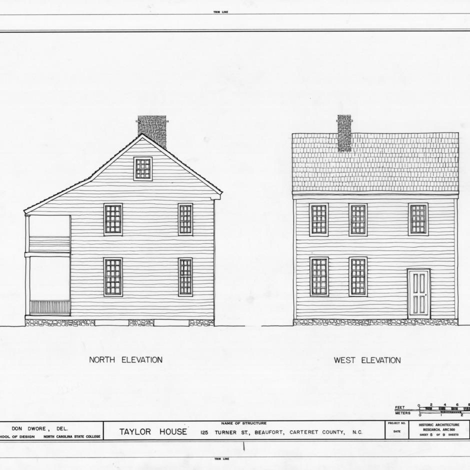 North and west elevations, John C. Manson House, Beaufort, North Carolina