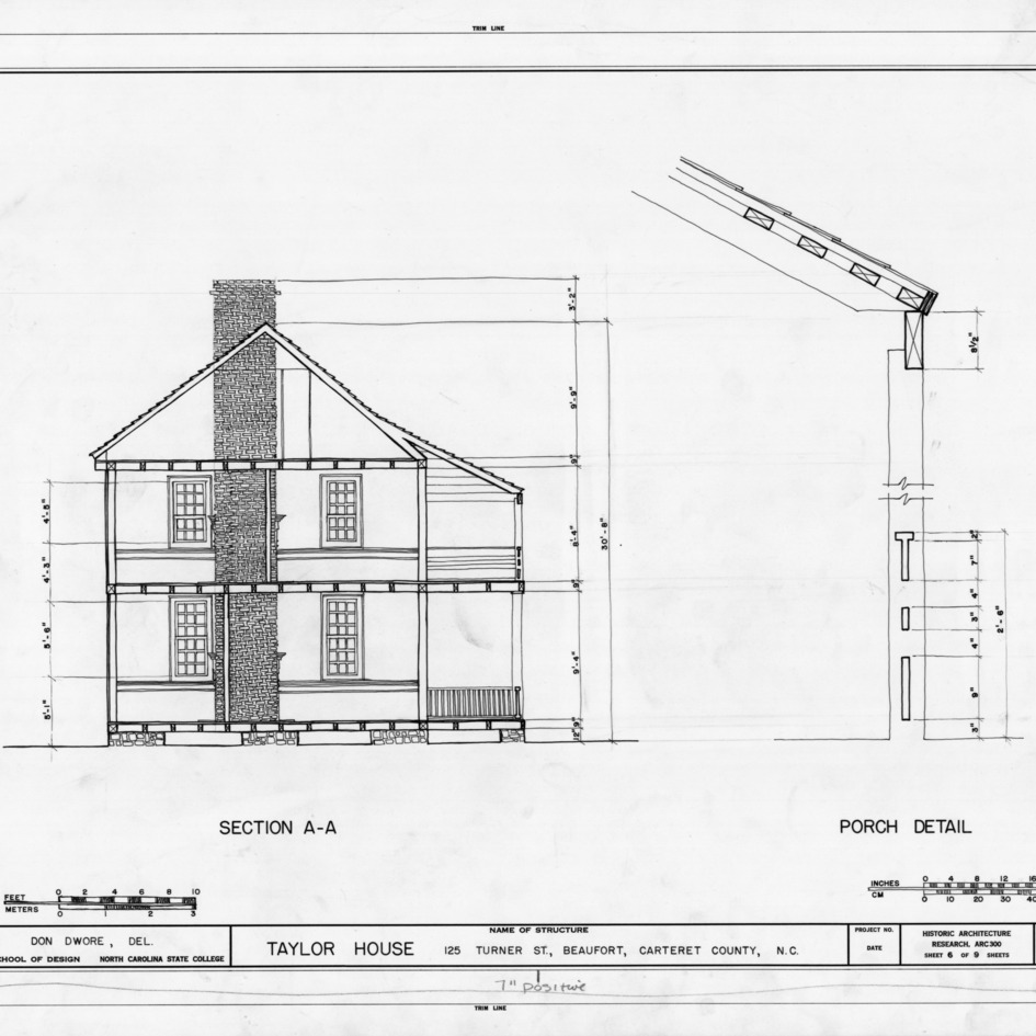 Cross section and porch detail, John C. Manson House, Beaufort, North Carolina