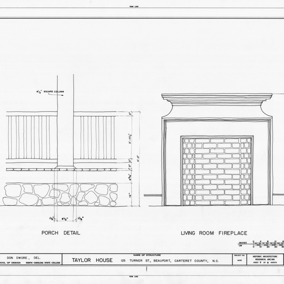 Porch and fireplace details, John C. Manson House, Beaufort, North Carolina