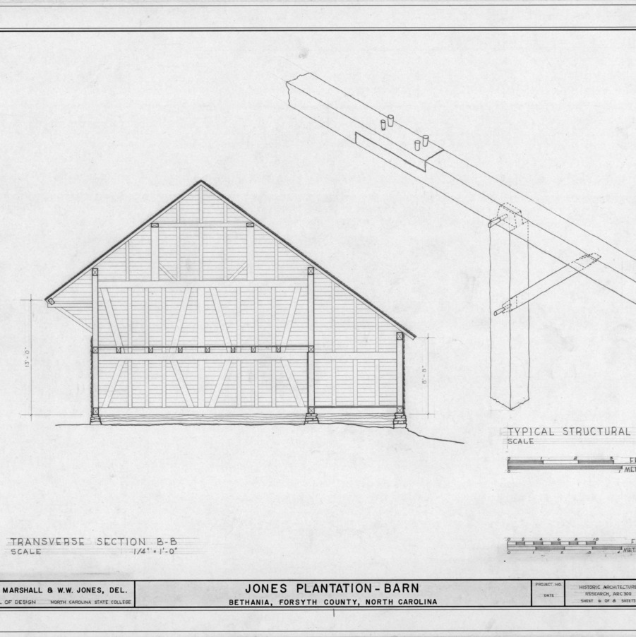 Cross section and isometric detail, Salem Tavern Barn, Winston-Salem, North Carolina