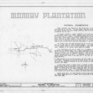 Title page with notes, Midway Plantation, Wake County, North Carolina