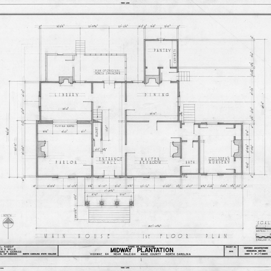 First floor plan, Midway Plantation, Wake County, North Carolina