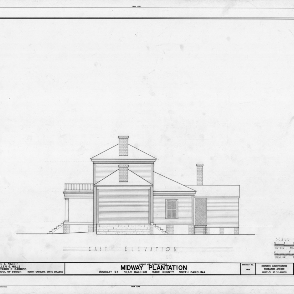 East elevation, Midway Plantation, Wake County, North Carolina