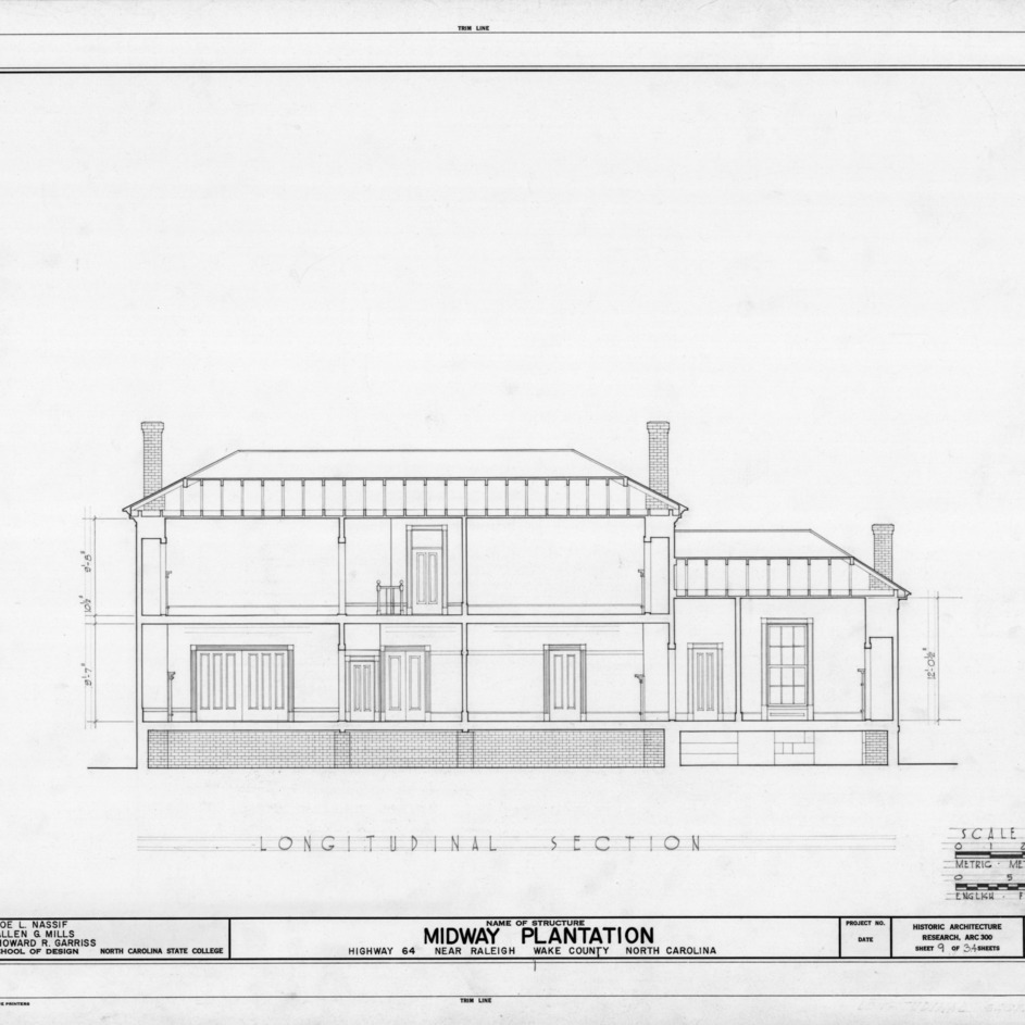 Longitudinal section, Midway Plantation, Wake County, North Carolina