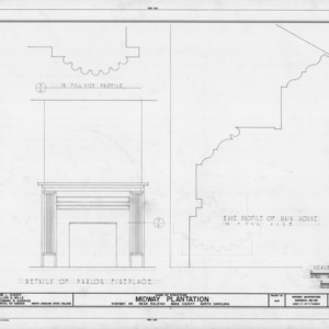 Fireplace and eave details, Midway Plantation, Wake County, North Carolina