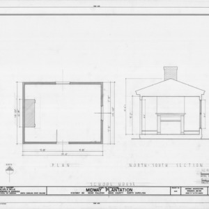 School house floor plan and cross section, Midway Plantation, Wake County, North Carolina