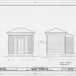 Front and north elevations of dollhouse, Midway Plantation, Wake County, North Carolina