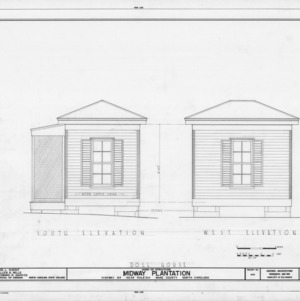 South and rear elevations of dollhouse, Midway Plantation, Wake County, North Carolina