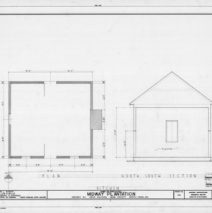 Kitchen floor plan and cross section, Midway Plantation, Wake County, North Carolina