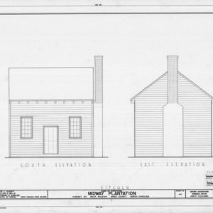 South and east elevations of kitchen, Midway Plantation, Wake County, North Carolina