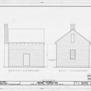 North and west elevations of kitchen, Midway Plantation, Wake County, North Carolina