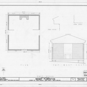 Office floor plan, cross section, and details, Midway Plantation, Wake County, North Carolina