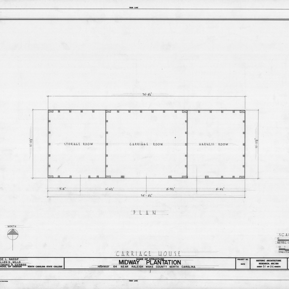 Carriage house floor plan, Midway Plantation, Wake County, North Carolina